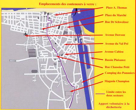 plan des containers de verres à Ouistreham Riva-Bella