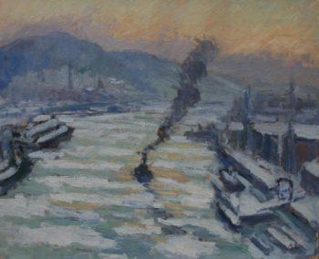 Léonard Bordes, Glaçons sur la Seine à Rouen 1931